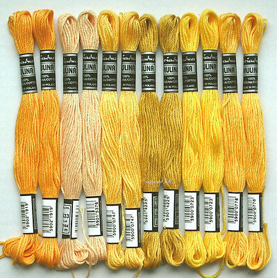 Embroidery Twist Embroidery Yarn 12x Yellow tones Cotton twist embroider -35