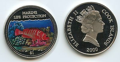 G0034 - Cook Islands 1 Dollar 2000 Marine Life Protection Multicolor Farbauflage