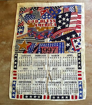 1997 God Bless America Cloth Annual Calendar by Notra 4th of July/Memorial/Labor