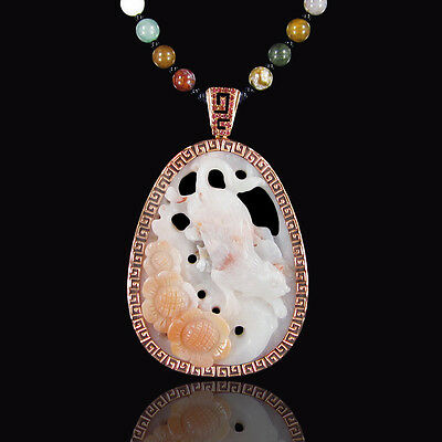 Carved Morocco Crazy Agate Cat Necklace DC302008