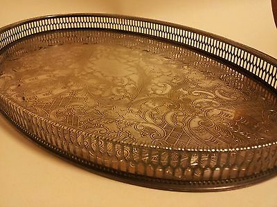 Stunning Viners of Sheffield Alpha silver plate chased serving tray antique