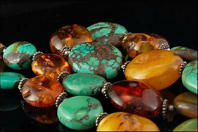Old Chinese Large Spiderweb Turquoise Butterscotch Amber Sterling Necklace