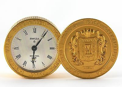 Vintage RARE Swiza 8 Day Coin Stack Alarm Clock 1976 Swiss Made