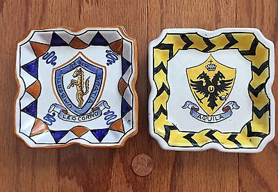 "2 Vintage Deruta Italian Ceramic Hand Painted Trinket Dishes 4x4"" MADE IN ITALY"