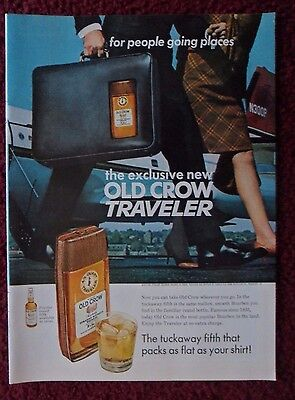1967 Print Ad Old Crow Whiskey ~ New Old Crow Traveler The Tuckaway Fifth