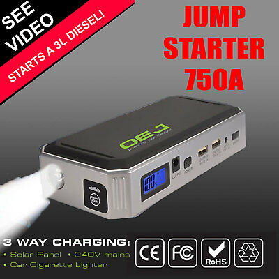 Portable Emergency Jump Starter 750A Diesel & Petrol Power Bank Solar Charge 12V
