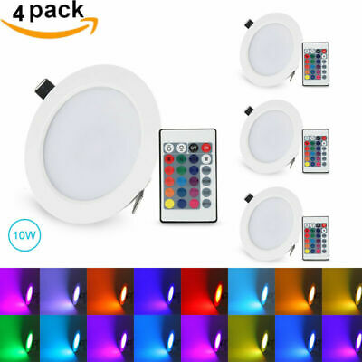 5W/10W Round RGB LED Recessed Ceiling Light Panel Down Light Lamp+Remote Control