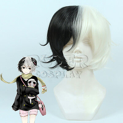 Bungo Stray Dogs Anime Black White Full Wig Cosplay Hair Wigs Short 35cm