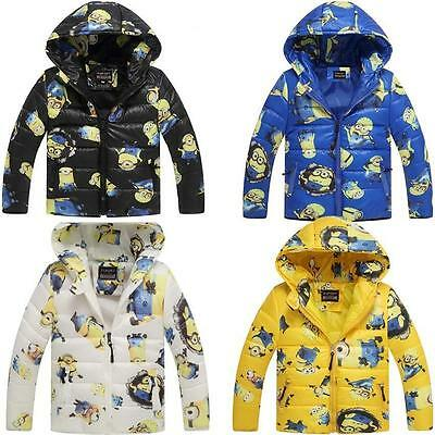 NEW!Minion Jacket Kids Down Jacket For Boy Baby Minion Clothes Winter Down Coat
