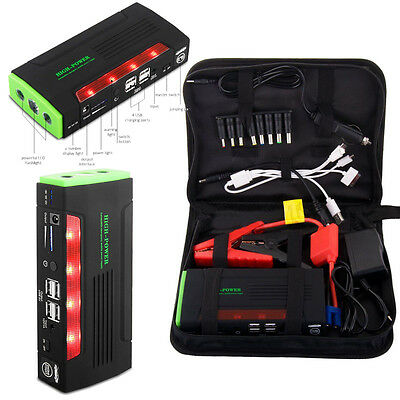 68000mAh Car Jump Starter Booster Power Portable Bank Battery Charger 4 USB  UK