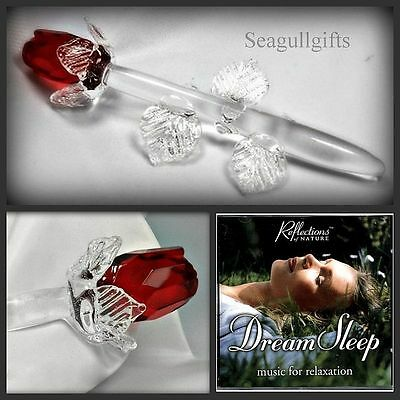 CRYSTAL ORNAMENT,Single RED ROSE,Mothers Day Gift,I LOVE YOU + Relax Sleep CD