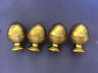 """4 Large Vintage 3 1/2"""" Brass Acorn Finals Architectural Salvage Curtain Rods"""