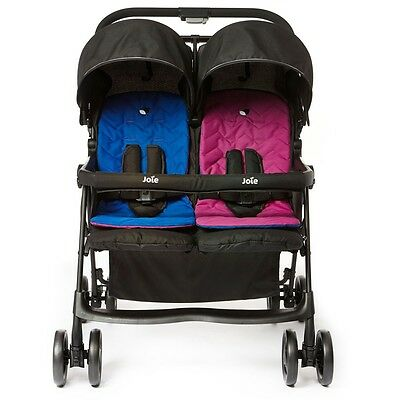 Joie Aire Twin Stroller in Pink and Blue, Baby Pushchair Lightweight Buggy Pram