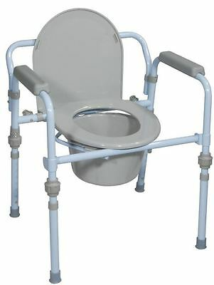 Folding Bedside Steel Commode Toilet with Bucket and Splash Guard (Holds 350lb)