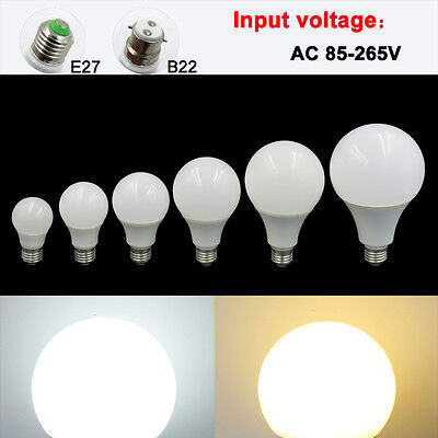 E27/B22 3W 5W 7W 9W 12W 15W LED Light AC 85-265V Globe Bulb No flicker Lamp #T