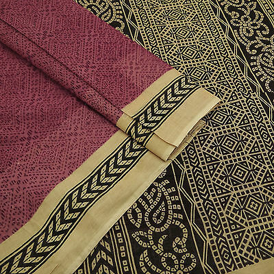 Vintage Indian Printed Pure Cotton Saree Mauve Ethnic Used Sari Craft Fabric