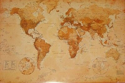 "World Map Laminated Poster ""antique Style"" Large ""licensed"" Brand New"