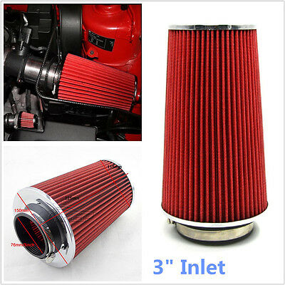 """1Pcs 3"""" Inlet Car Auto Long Ram Cold Air Intake Filter Cone Filter Red  KN Types"""