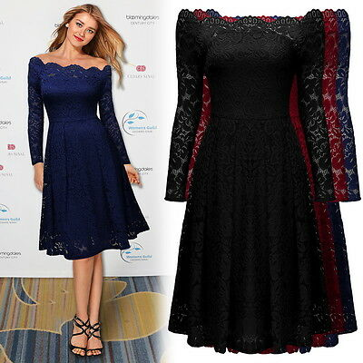 Women's Vintage Off Shoulder Formal Evening Cocktail Party Lace Prom Swing Dress
