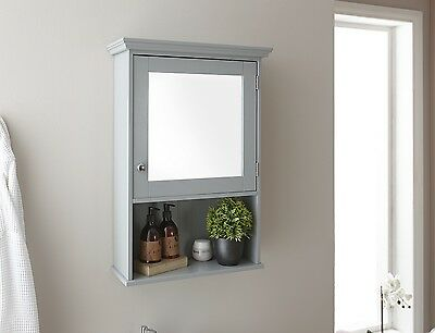 Colonial Bathroom Open Shelf Mirrored Wall Storage Unit Tong & Groove - Grey
