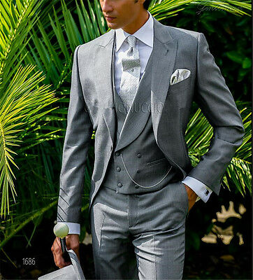 Gray Men's Wedding Suits Slim Groomsman Tuxedo Prom Best Men 3 Piece Suit Custom