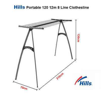 Hills Clothesline Portable 120 12m Clothes Line Airer Drying Rack Foldable