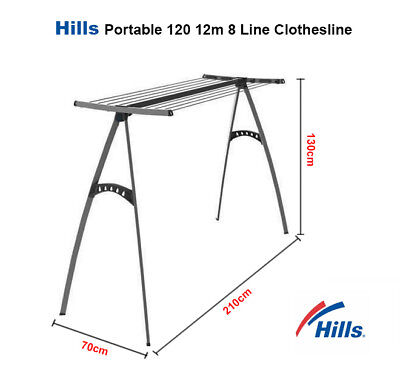Hills Clothesline Portable 12m 8 Line Clothes Line Airer Drying Rack Foldable