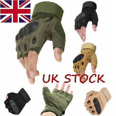 Military Tactical Gloves Mechanix Airsoft Fingerless Outdoor Hard Knuckle Sport
