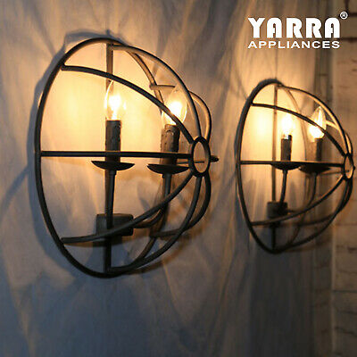 3-Light Retro Wall Sconce Lamp Fixture Metal Rustic Industry Loft- Black
