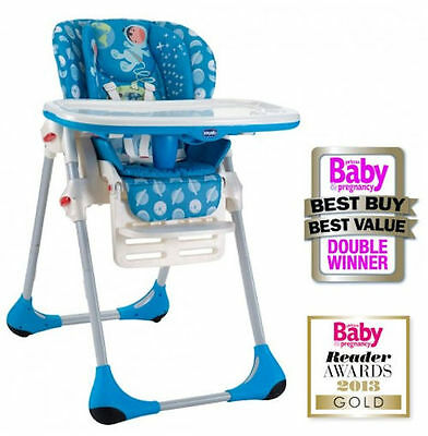 Chicco Moon Blue Polly Highchair Baby Feeding Height Adjustable High Chair
