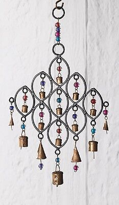 NAMASTE Fair Trade Iron Indian Windchime with Beads & Copper Bells Wind Chime