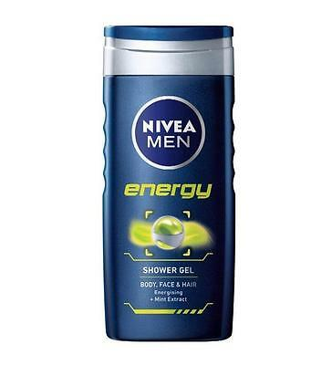 ** 2 X  Nivea Men Energy Shower Gel 250Ml Each New Body Face Hair Mint Extract