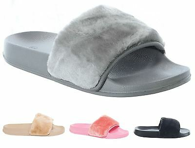 New Womens Faux Fur Slip on Comfy Flip Flop Slider Slippers Farrah Casual Shoes