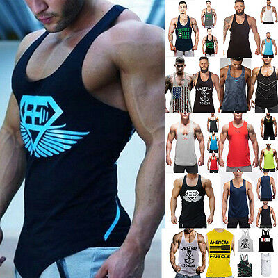 Men's Bodybuilding Tank Tops Gym T-Shirt Muscle Cami Tee Sports Fitness Vests UK