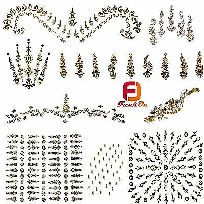 Gold Fancy Bridal Bindi Tattoo Indian Diamante Wedding Tikka Festival Gem Uk