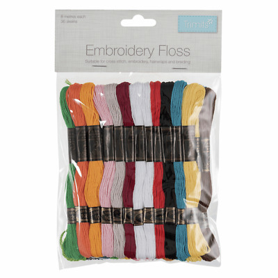 Craft Factory 36 x 8m Bright Colours Embroidery Thread Floss Skeins Cross Stitch