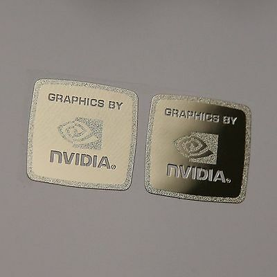 "2x ""Graphics by Nvidia"" Metal Sticker 17x17mm Case Badge Logo Label USA Seller"