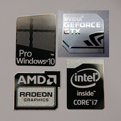 Windows 10 Pro Combo Badge Metal Sticker, PC/Laptop Intel Core i7/i5/AMD/Nvidia
