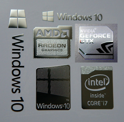 Windows 10 Combo, Badge Label Metal Sticker, PC/Laptop Intel Core i7/AMD/Nvidia