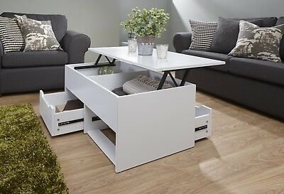 Ultimate Living Room 2 Drawer Lift Up Storage Coffee Occasional Table - White