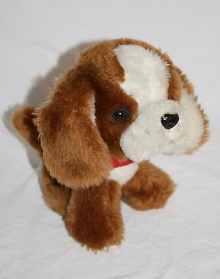 "Small Brown White Plush PUPPY DOG  Sit 6"" Red Collar Stuffed Ground Nutshell Vtg"