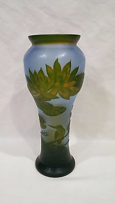 Emile Galle Modern Reproduction LILLYPADS AND BIRDS Vase - Signed - 13""
