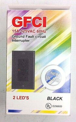15 Amp GFCI GFI Outlet Receptacle Black YGF15LL-BL 15A NEW
