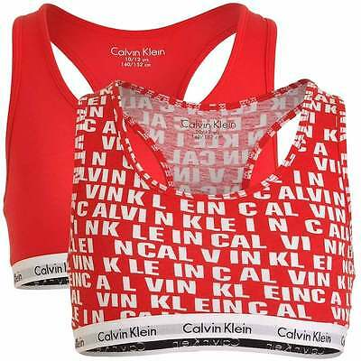 GIRLS 2 Pack Modern Cotton Bralette, Princess Red all over Logo / Solid Red