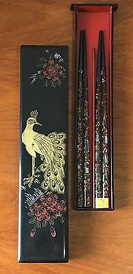 Vintage Japanese Chopsticks Mother Of Pearl Lacquered Box