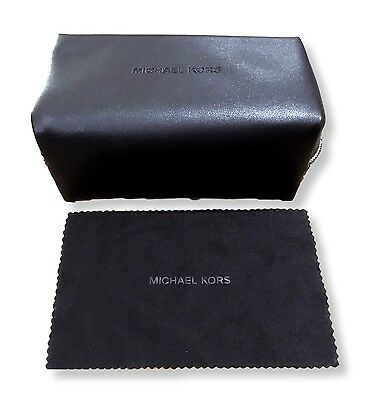 Soft Brown Leather Michael Kors Sunglasses Case & Cloth with Zip