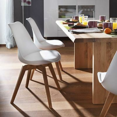 Mmilo set of 2 Tulip Dining/Office Chair with Solid Wood Legs & Leather Cushion