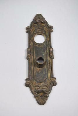 Antique Victorian Brass Door Backplate Shell Details