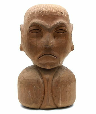 Vintage WWII Japanese INTERNMENT CAMP Art Wooden Bust Of Man Statue Carving