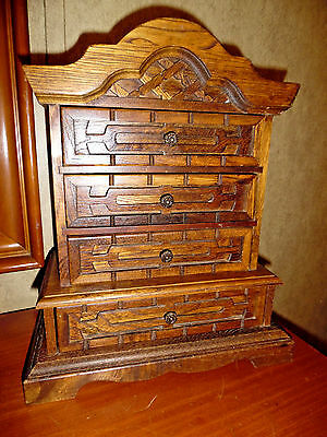 Antique Wooden Jewelry Box Royal Sealy With Drawers